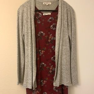 Wallflower dress with gray cardigan cover